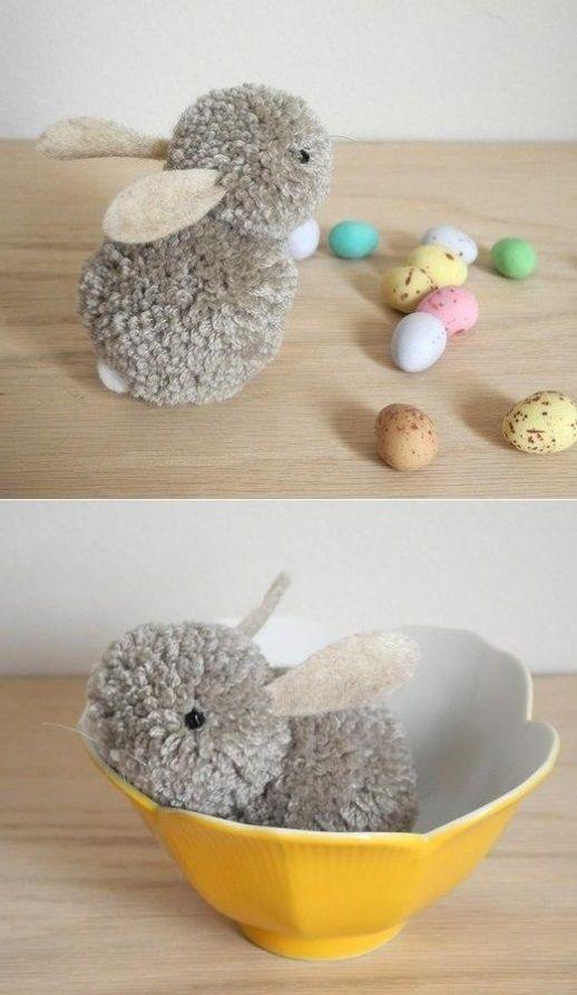 Handmade pom-pom bunny