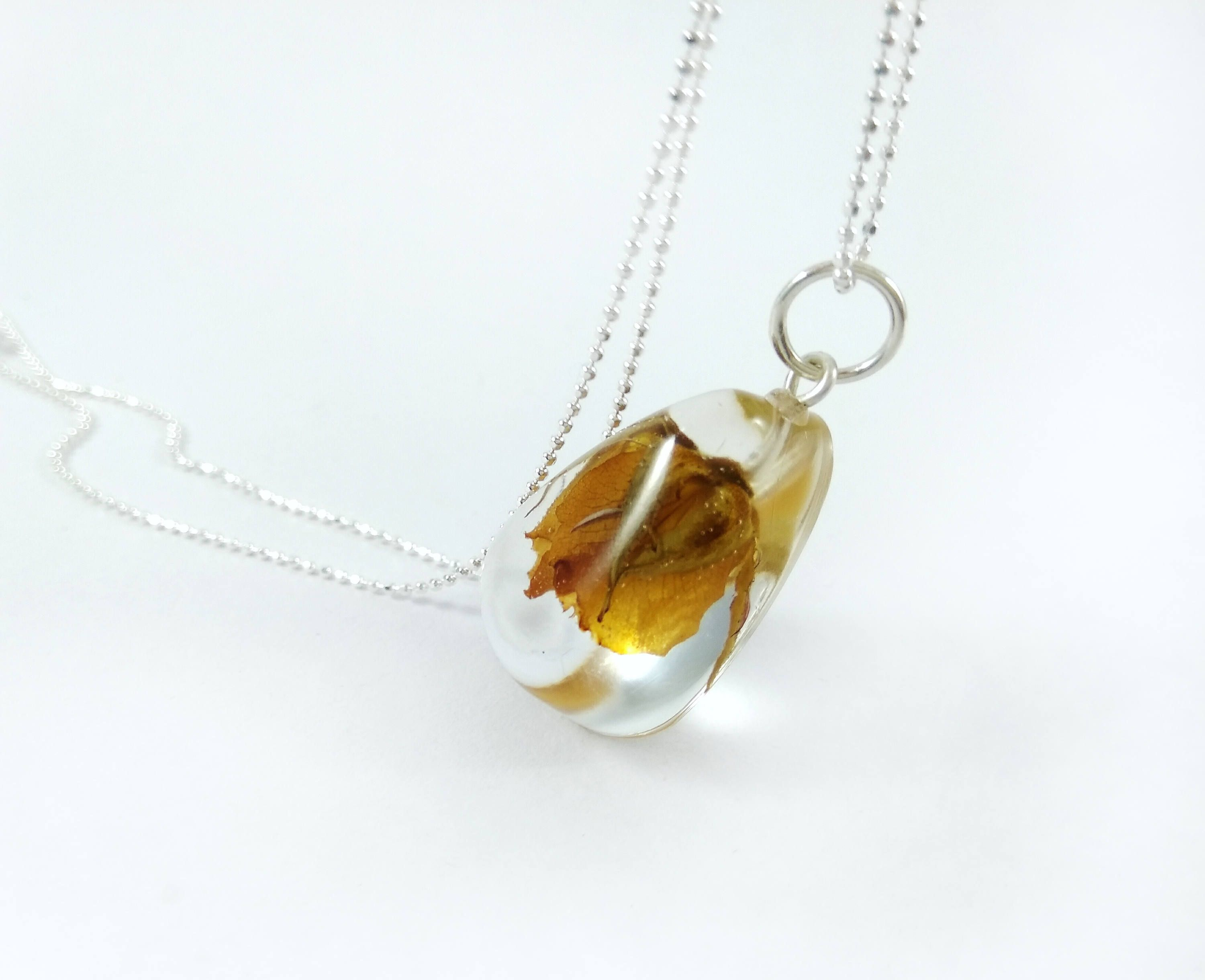 Real flower necklace yellow rose necklace terrarium necklace