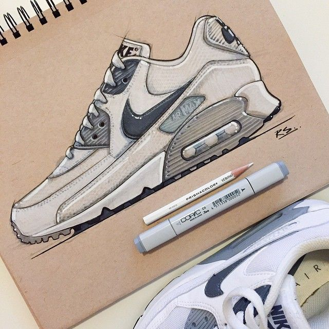 3d Art Drawing, Nike Air Max 90s, Print Ideas, Trainers, Art Designs,  Sketching, Dibujo, Tennis Sneakers, Art Projects