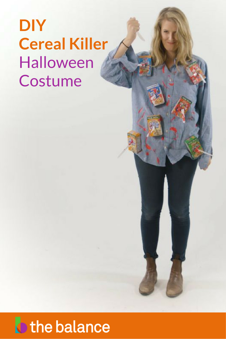 Clever and inexpensive DIY last minute Halloween Costumes - it's not too late to make your own cereal killer costume!