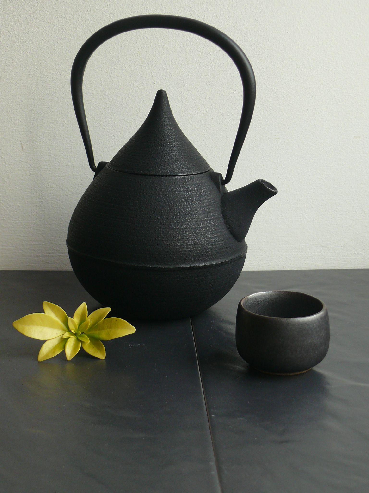 a beautiful tear shaped cast iron japanese teapot for love of tea