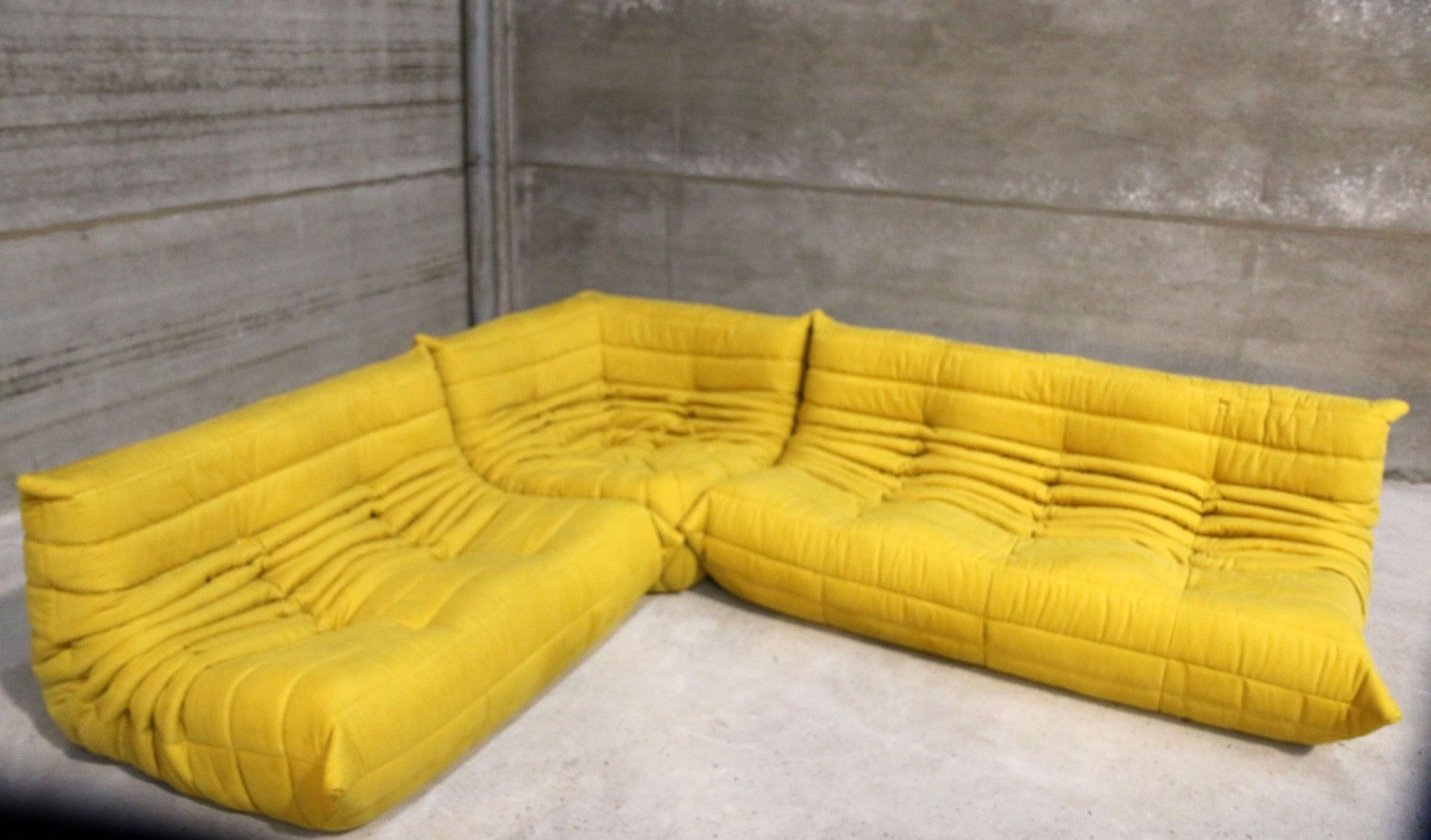 Vintage Yellow Togo Lounge Set By Michel Ducaroy For Ligne