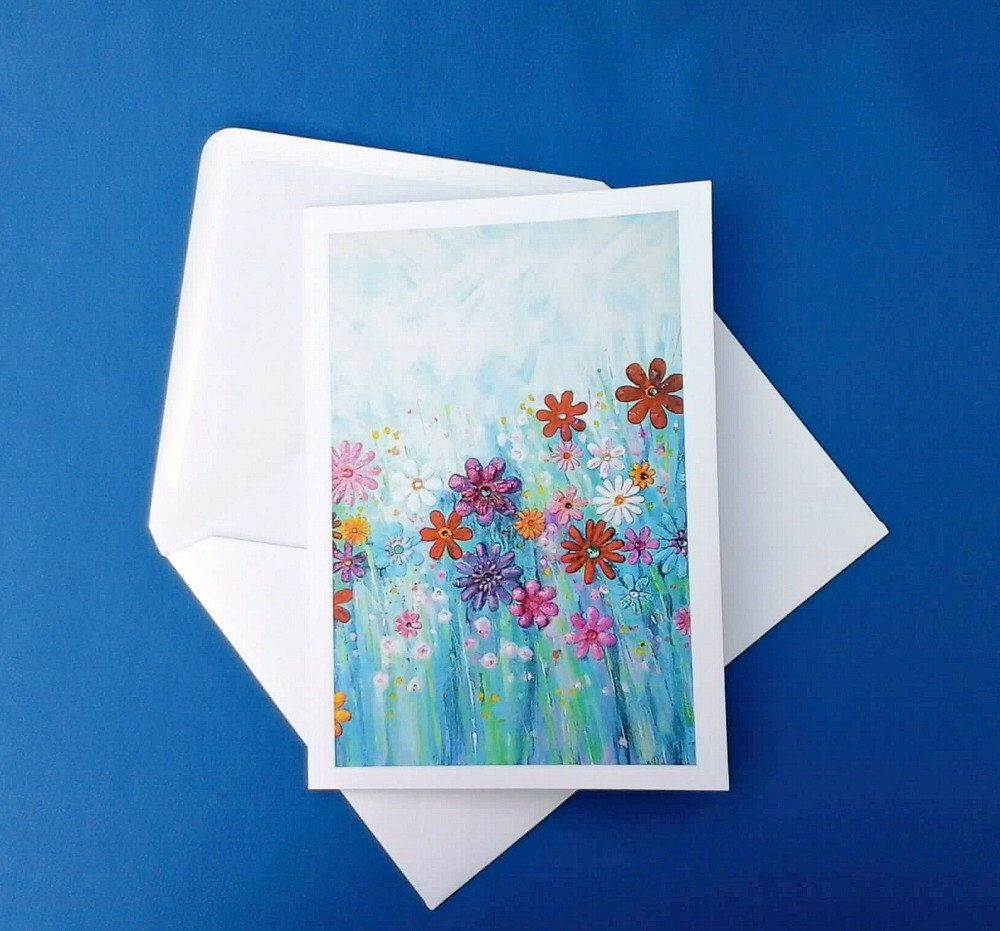 Art Greeting Card Abstract Flowers Original Artwork On Card