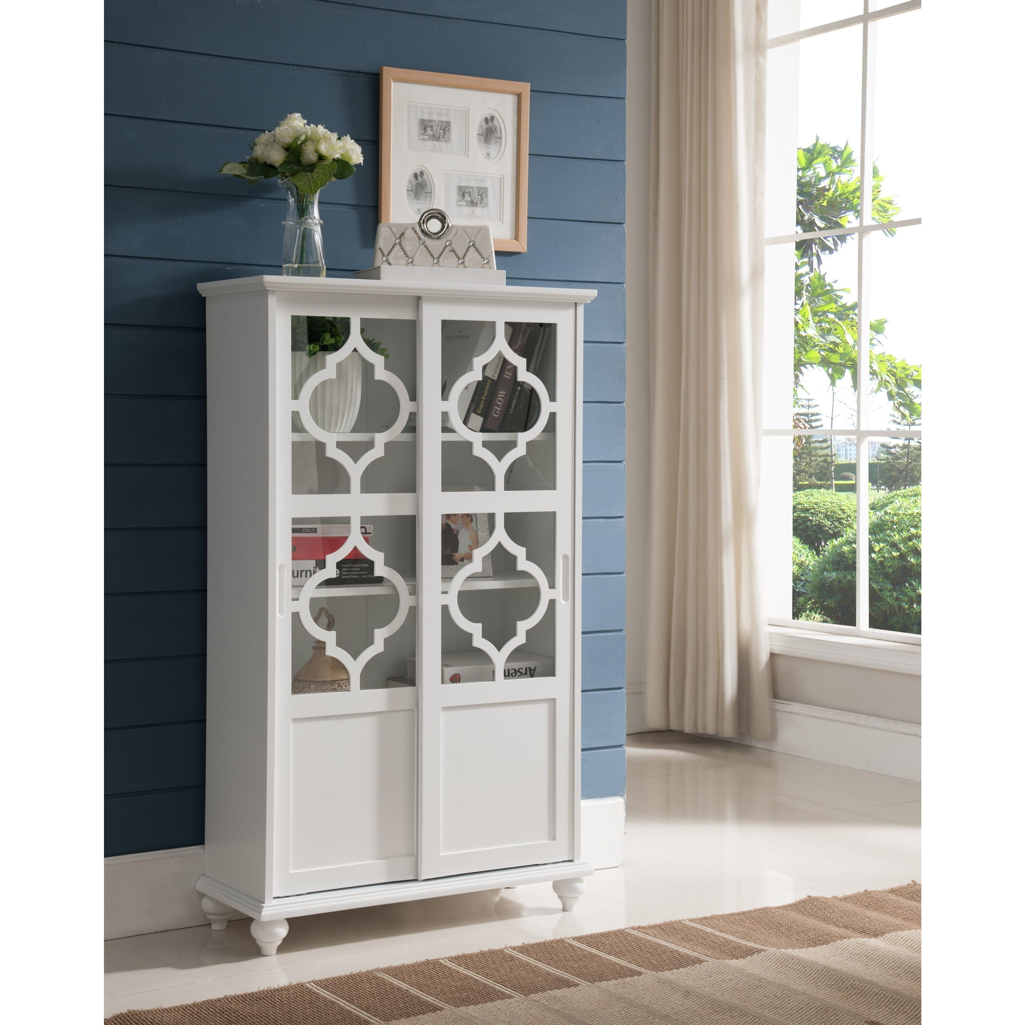 Kings Brand Furniture Espresso Wood Curio Cabinet with Glass Sliding Doors ~New~