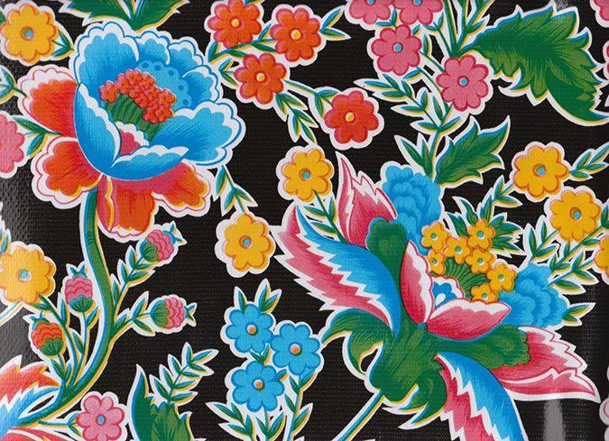 Primavera On Black Mexican Oilcloth Sample Oil Cloth Mexican