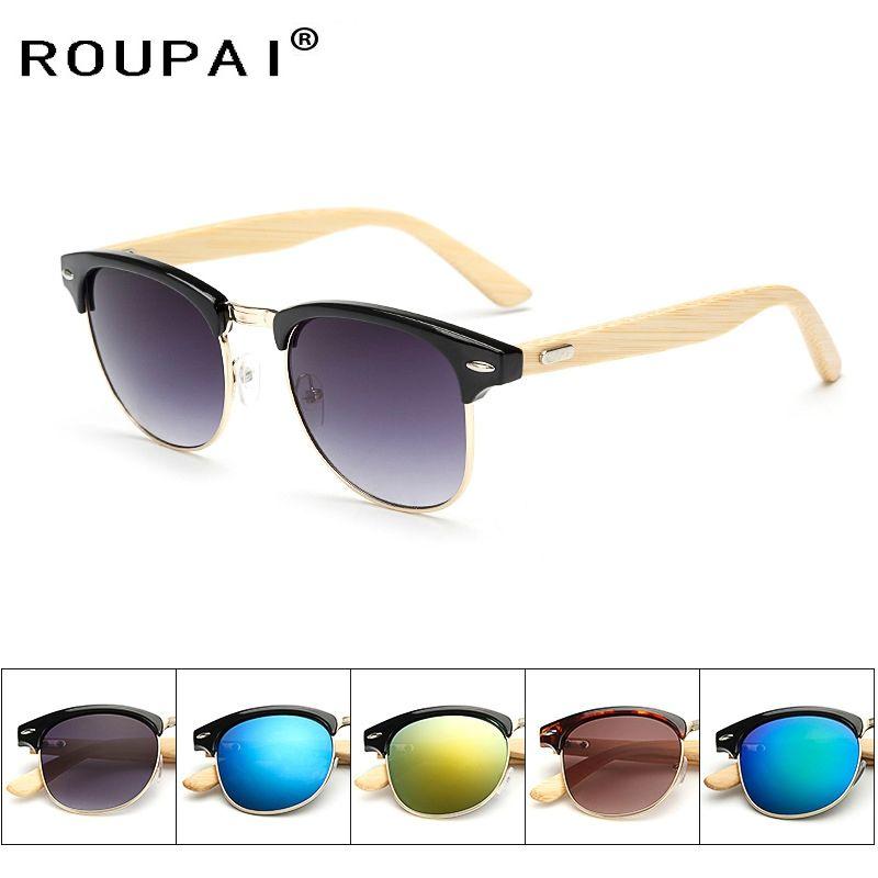 Roupai Semi-Rimless Womens vintage bamboo wood Sunglasses women brand  designer fashion retro Mirror sun 1df22f693d