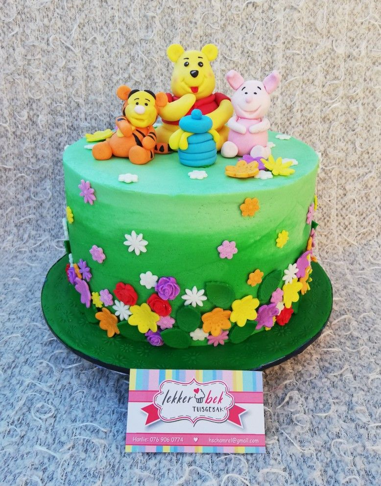 Winnie The Pooh Theme Cake With Gradient Green Buttercream With