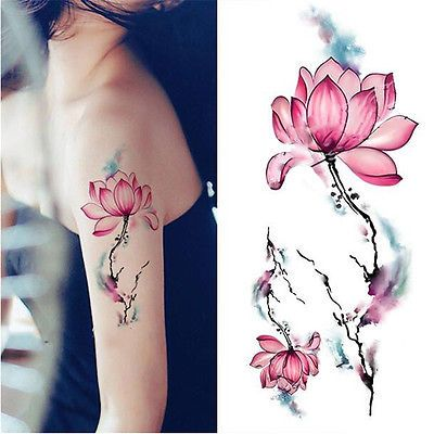 Blue Watercolor Lotus Flower Temporary Tattoo Waterproof Stickers