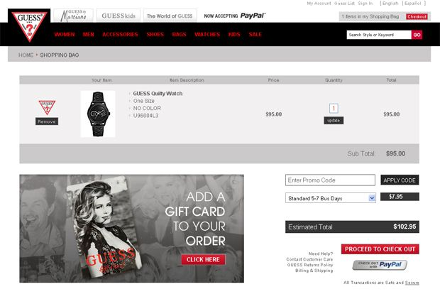 shopping cart page designs