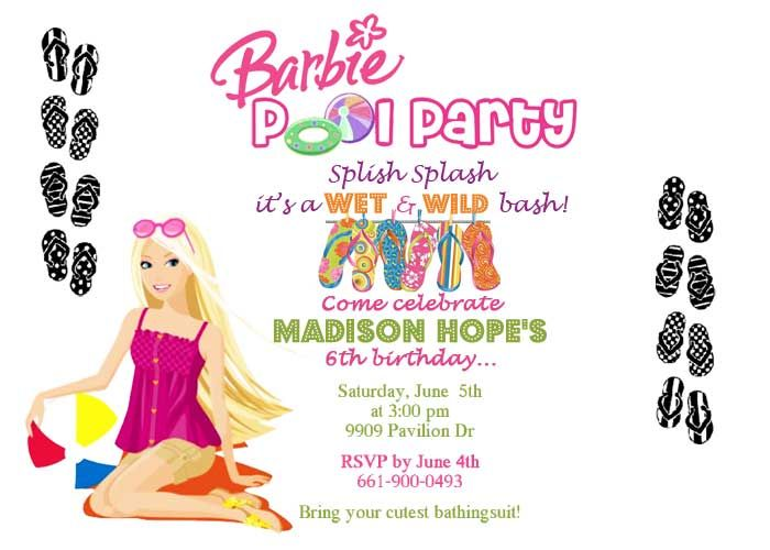 Barbie Birthday Invitation Swim Parties Party Girl