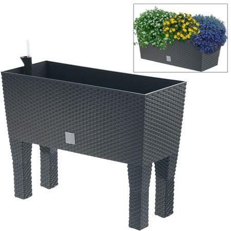Polyrattan Blumenbank Mit Bewasserung 80x32cm Anthrazit Polyrattan Anthrazit Blumenkasten