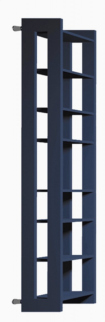 Nel radiatore Paco di Brem gli elementi verticali costituiscono il corpo scaldante; quelli orizzontali si scaldano per conduzione; misura L 56 x H 180 cm. Prezzo 1.159 euro. www.brem.it