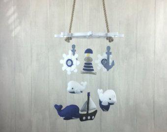 Baby mobile - nautical mobile - whale mobile - anchor, ship wheel, lighthouse and ship - crib mobile - ocean mobile - nursery