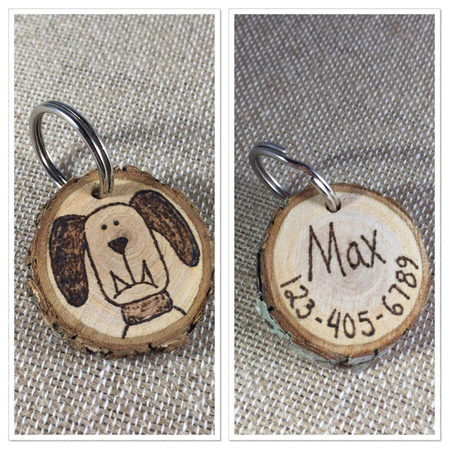 Wooden Dog Tag Pet Id Tag Wood Slice Tag Personalized Wood