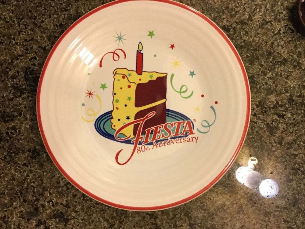 Fiesta® 2016 80th Anniversary Birthday Cake Plate. Limited Edition. Fiesta® cake plate & Fiesta® Ware 2016 Member Exclusive 80th Birthday Cake Plate 600 ...