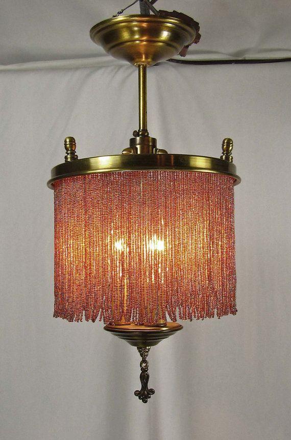 Chandelier Vintage Brass Bronze Glass Beaded Fringe 1940s #design #vintage #lighting