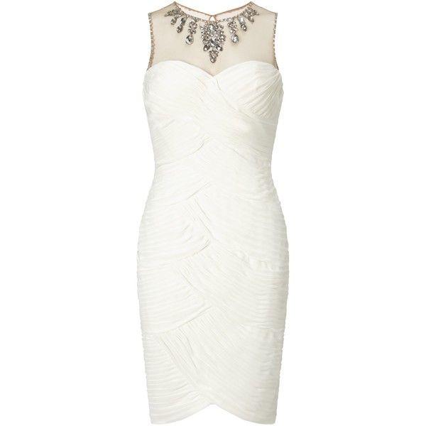 Adrianna Papell Wedding Short Shirred Dress With Beaded Yoke Ivory Short White Cocktail Dresses Shirred Dress Maxi Dress Cocktail