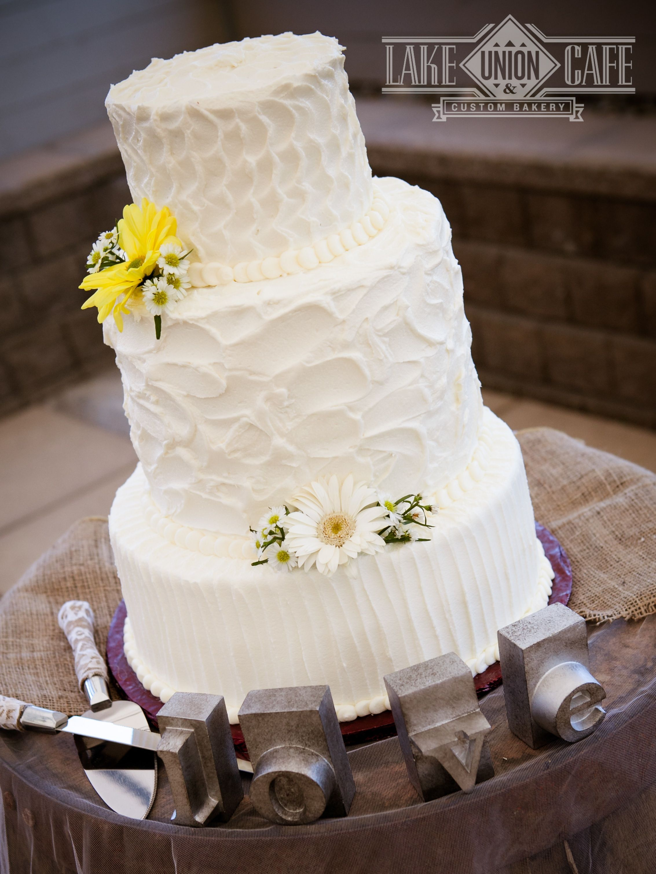 Multiple Textures All In Buttercream Make This Rustic Chic Wedding Cake Interesting Photo By HR Northwest Photography Lake Union Cafe