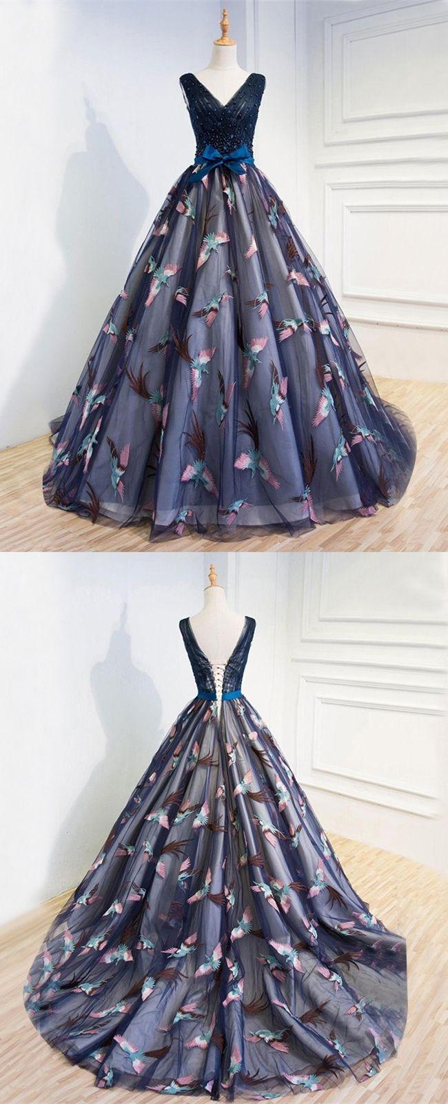 unique dark blue prom dresses, elegant ball gown evening dresses ...