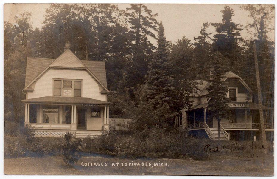 Real Photo Postcard Chautauqua Newton Cottages At Topinabee Michigan 107309 Photo Postcards Real Photos Postcard
