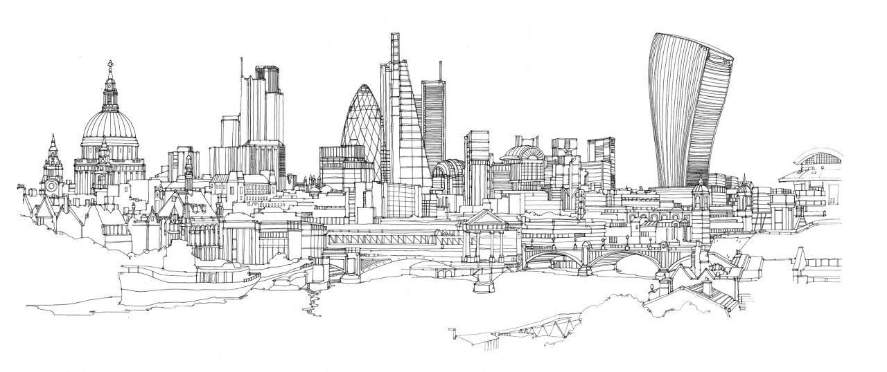 "abidaker: ""Line drawing of London, Pen and ink on paper"