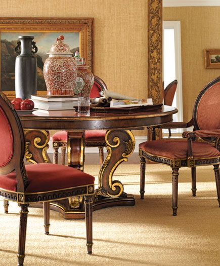 Henredon Arabesque Collection Dining Room With Round Dining Table Dine Diningroom Home Hom Henredon Furniture Dining Room Style Round Pedestal Dining Table