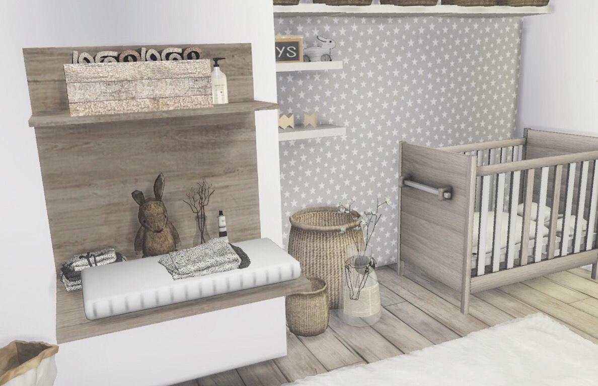 Sims 4 Scandinavian Interior — Nursery In Earthy Tones | Sims House, Sims 4 Bedroom, Sims 4