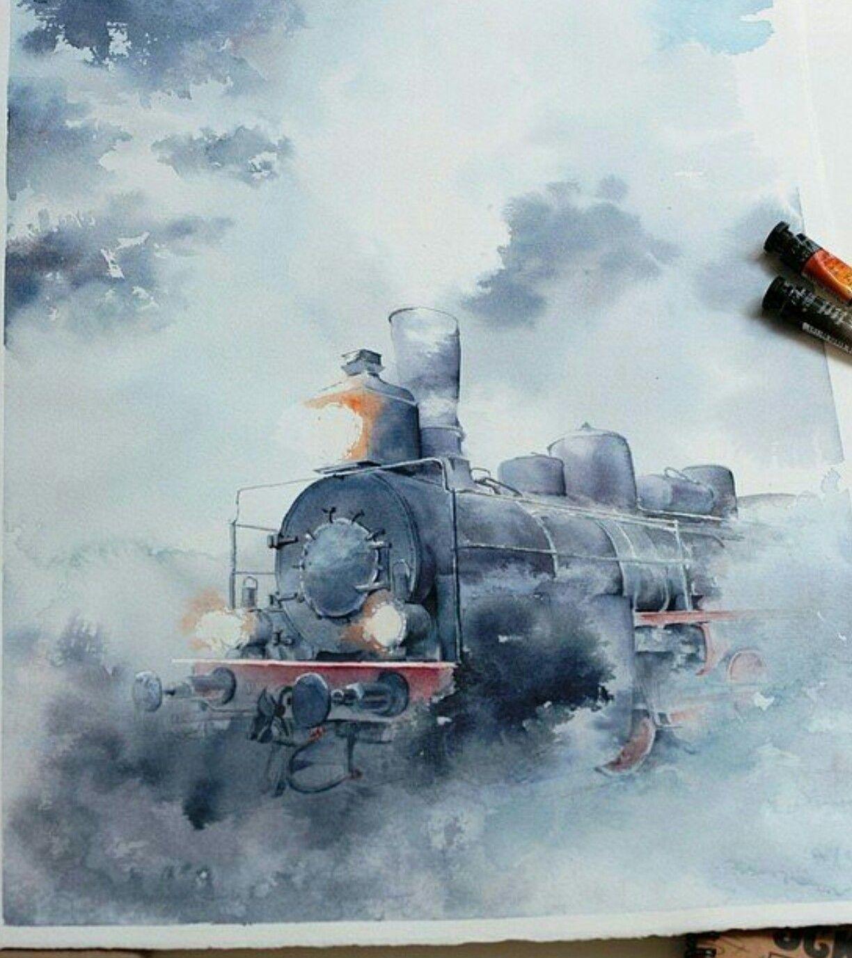Pin de Maria Jose en People illustration | Dibujos, Acuarela, Tren