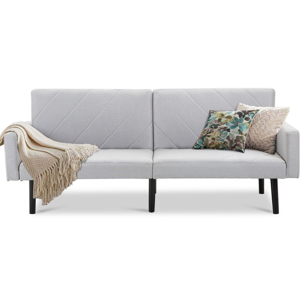 Gymax MidCentury Split Back Sofa Bed, Gray