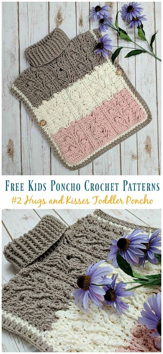 Free Kids Poncho Crochet Patterns #crochetponchokids