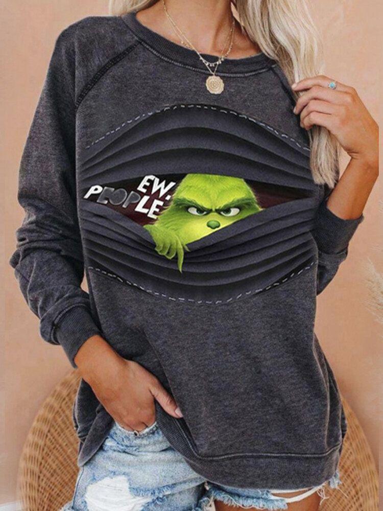 Funny Print Long Sleeve Plus Size Sweatshirt for W