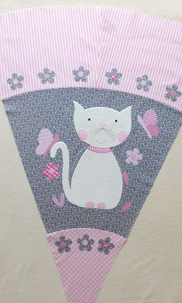 Schultüten Schultüte Stoff Katze Schmetterlinge Blumen Ein