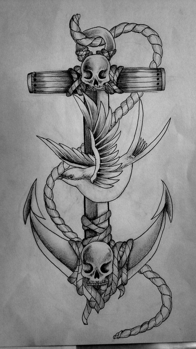 4a3600f61a7a2 Anchor, Bird, Skull tattoo. Love! | Tattoos | Anchor tattoos, Anchor ...