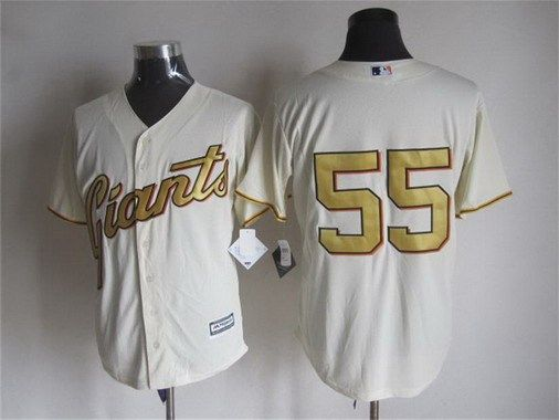 Men's San Francisco Giants #55 Tim Lincecum Cream With Gold Program 2015 MLB Cool Base Jersey
