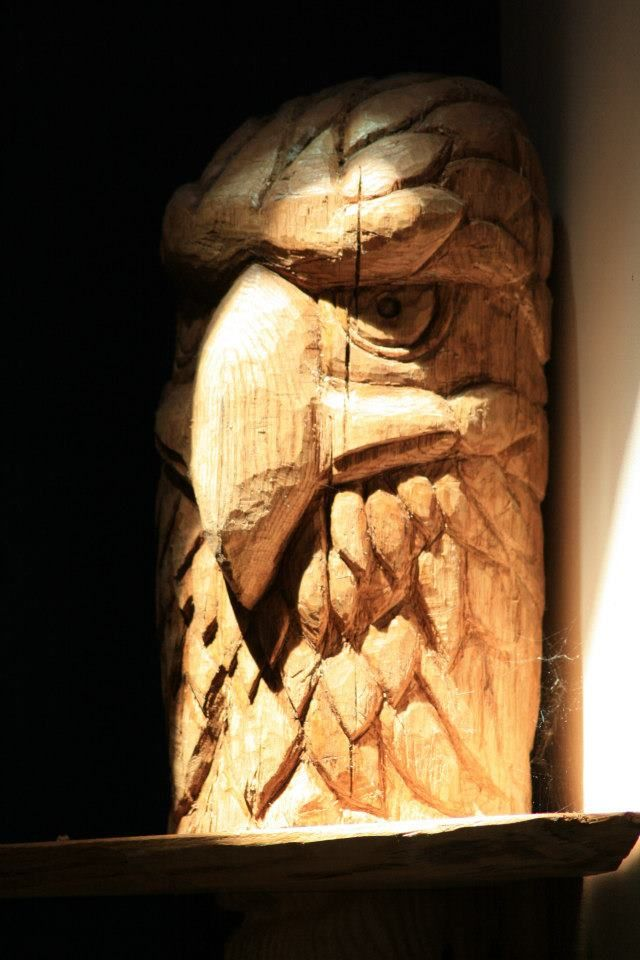 Hand carved eagle wood carving cool head from