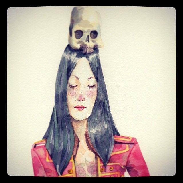 Ella es Saya y es una kitsune, la calavera es para transformarse en humano. Ahora vive en Valencia #kitsune #draw #ilustration #ronilustrador #watercolor #skull