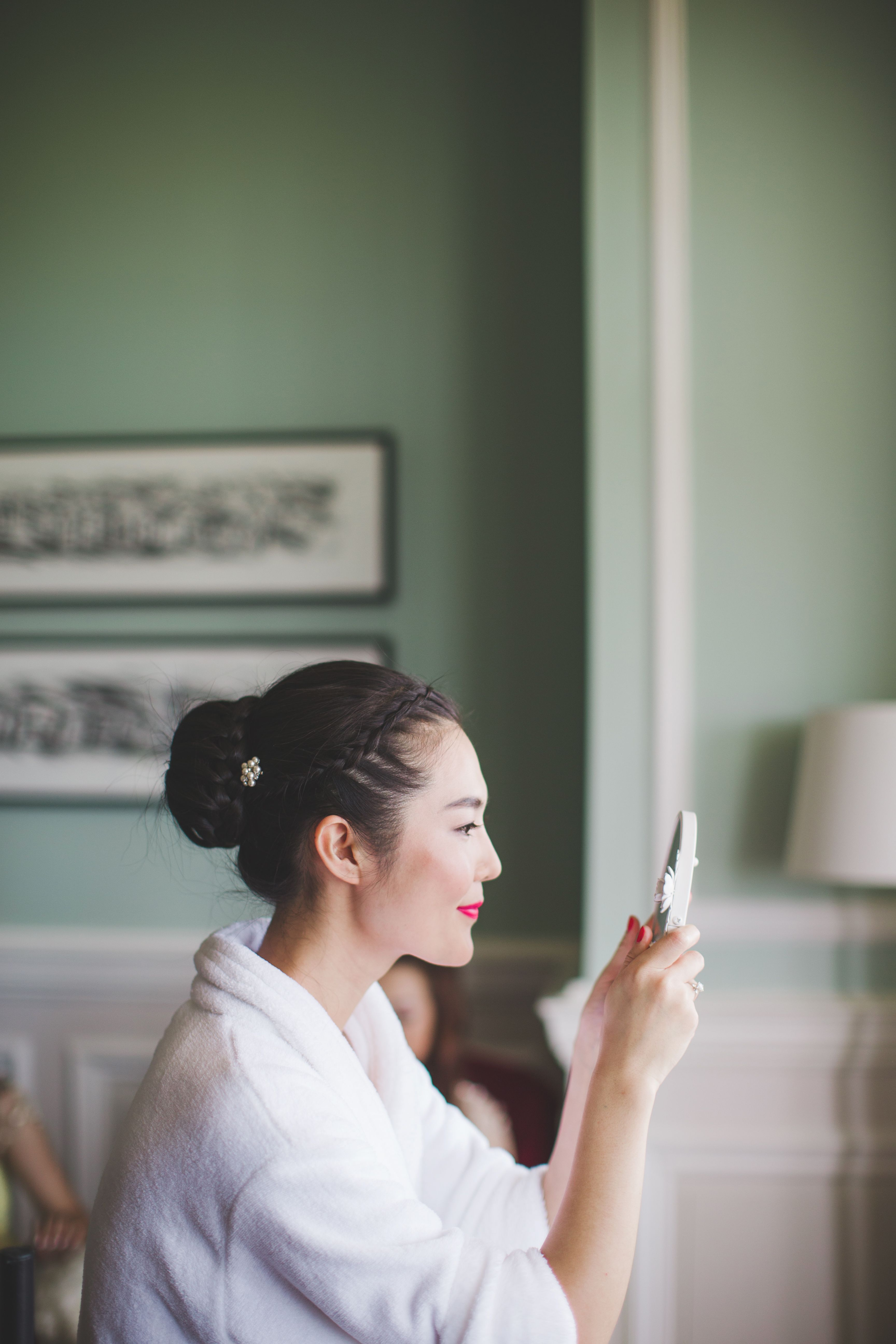 stunning bride. wedding hair and makeup. braided bun. chinese