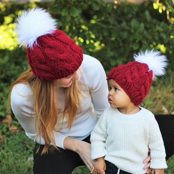 Mommy and me matching winter hats Mother daughter gift set Toddler  Christmas hat Mom and me beanie m 95cdbc614c22