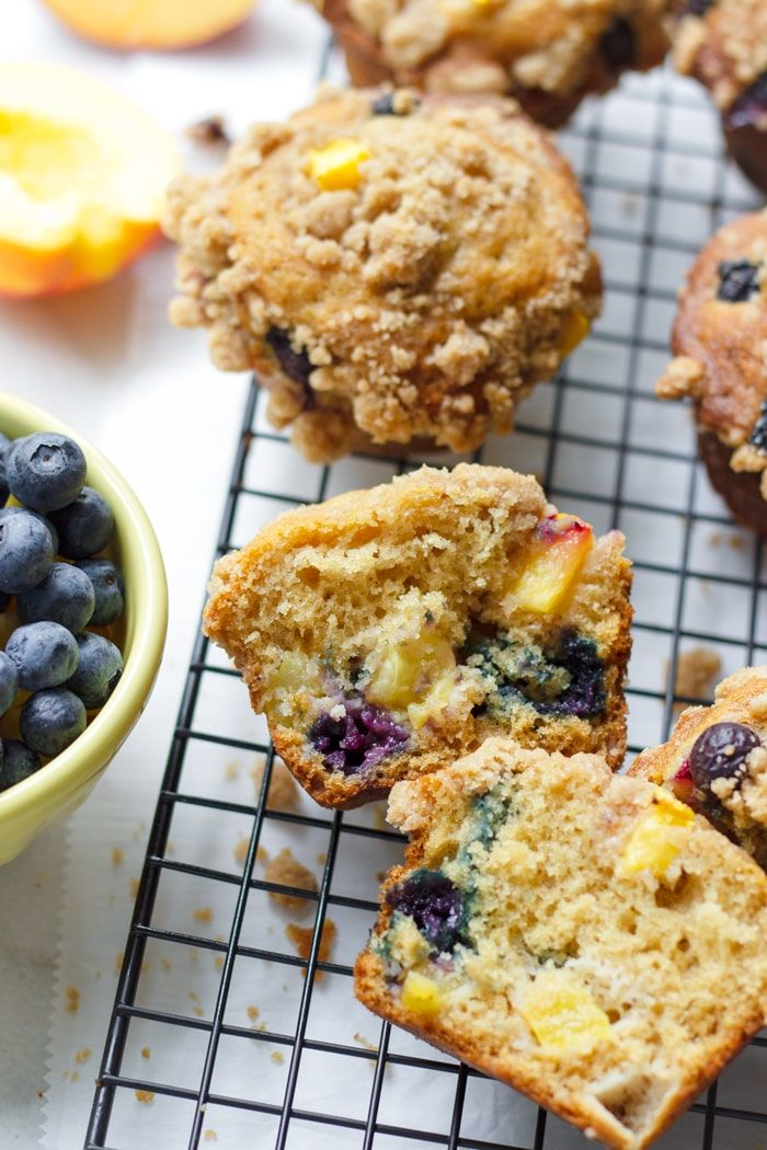 blueberry peach muffins with streusel topping  cooking