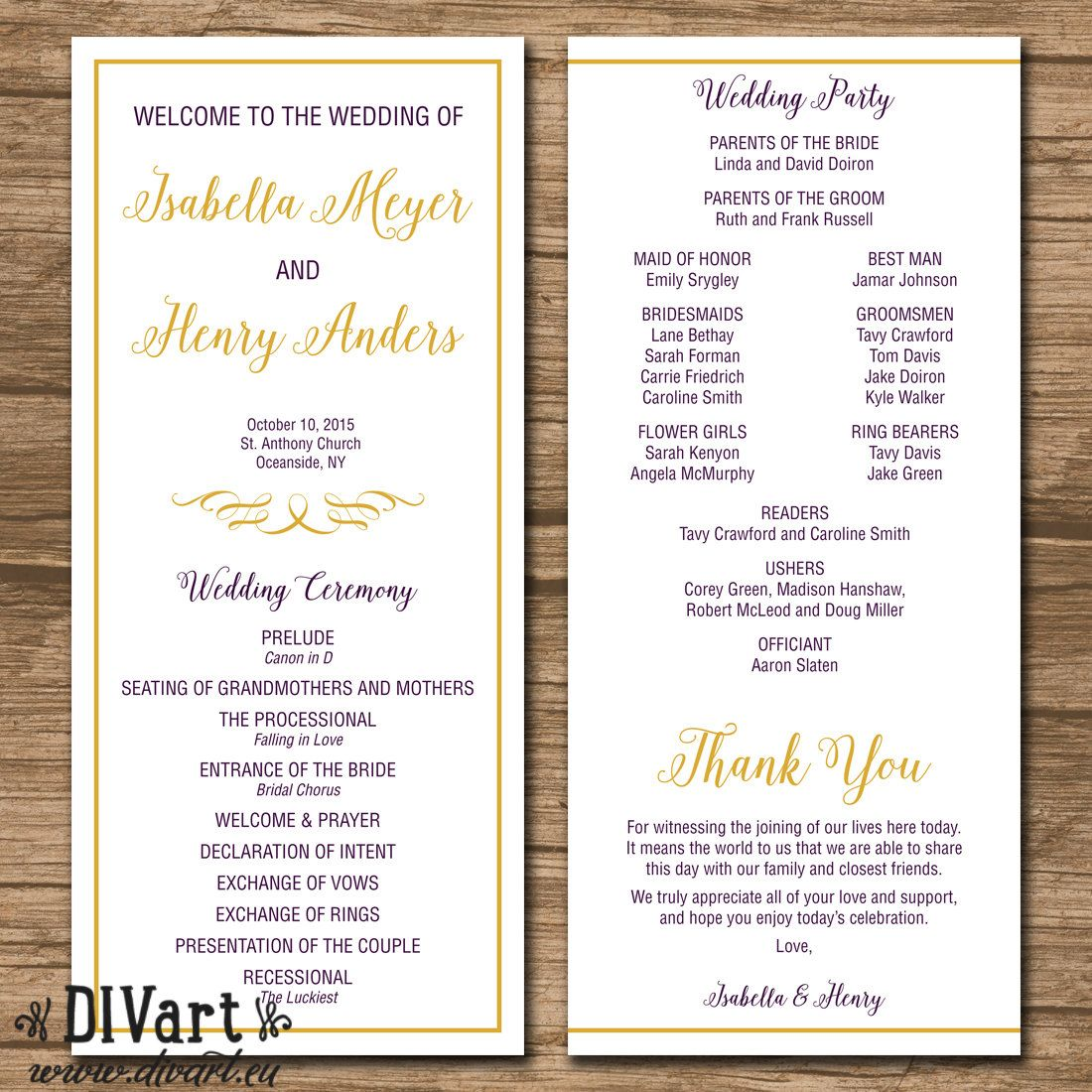 Elegant Wedding Program, Ceremony Program - PRINTABLE files - modern wedding, elegant wedding, fall wedding, eggplant and gold - Isabella by DIVart on Etsy