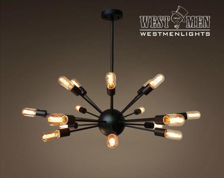 Westmenlights Black Vintage Industrial Sputnik Globe Pendant Ceiling Light Chandelier Rustic