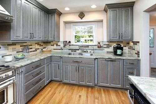Grey stained kitchen cabinets what brand are the wood ...