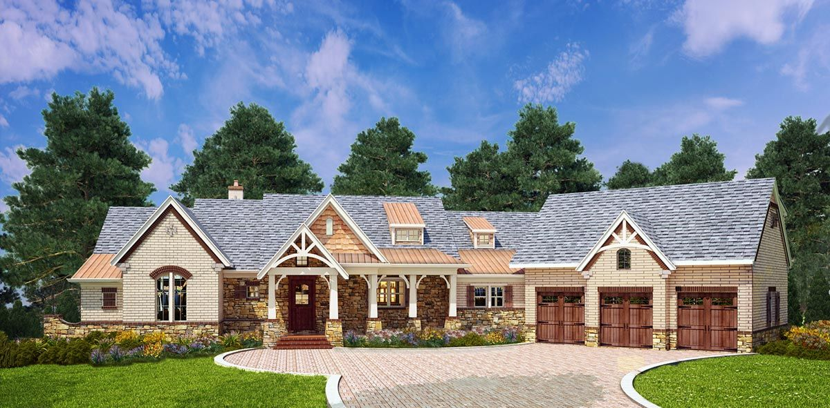 Plan 12279jl mountain ranch with expansion and options for Ranch style house plans with bonus room