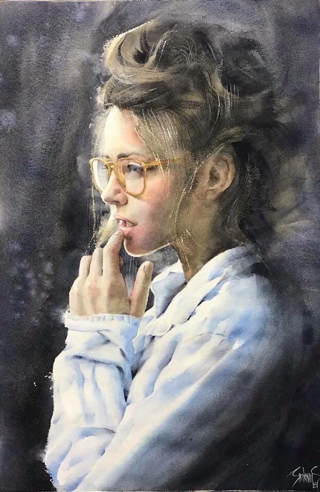 Pin By Foo Sh On Watercolor In 2020 Portrait Painting