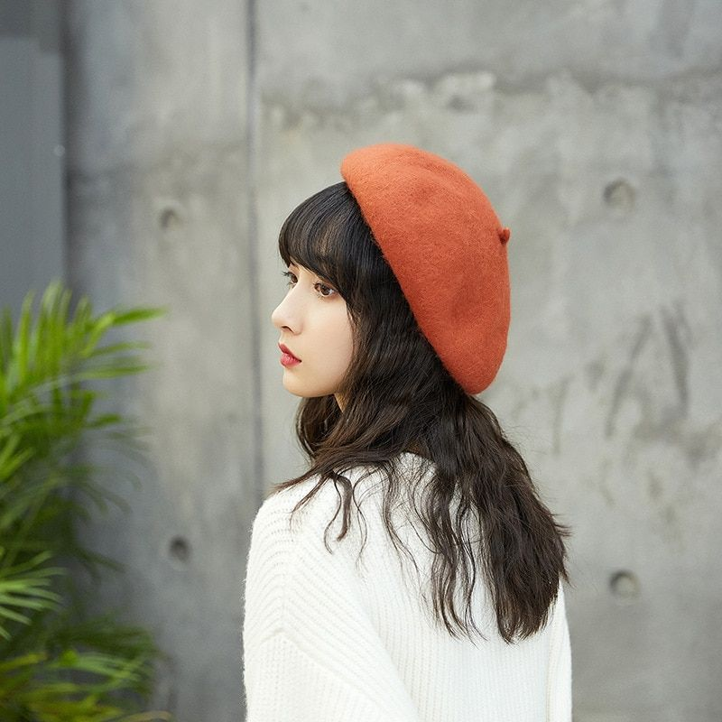 0850e5652512e Winter Hat For Women Wool Beret Flat Cap Felt Hats Female Japanese Retro  Vintage Pink Berets
