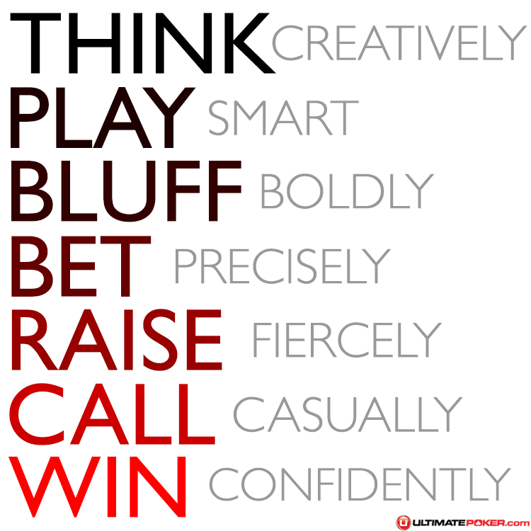 Poker Quotes: Think : Play : Bluff : Bet : Raise : Call : Win