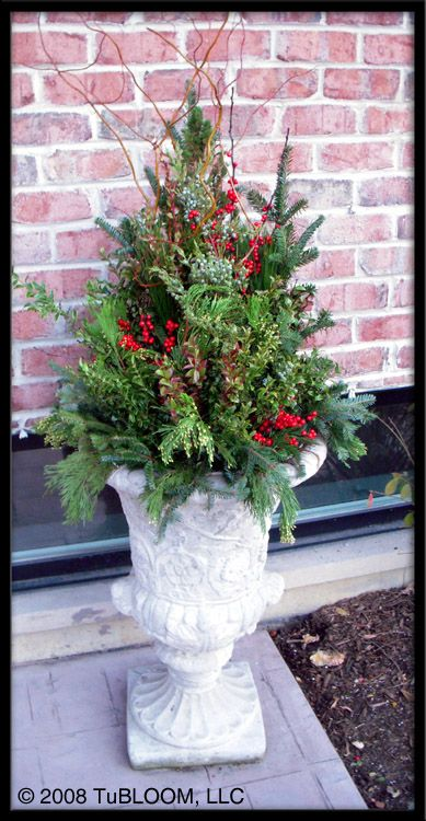 Fall Planter Ideas Antigue Solid Concrete Urn Chicago Container Garden Design By Tubloom Holiday Planter Christmas Greenery