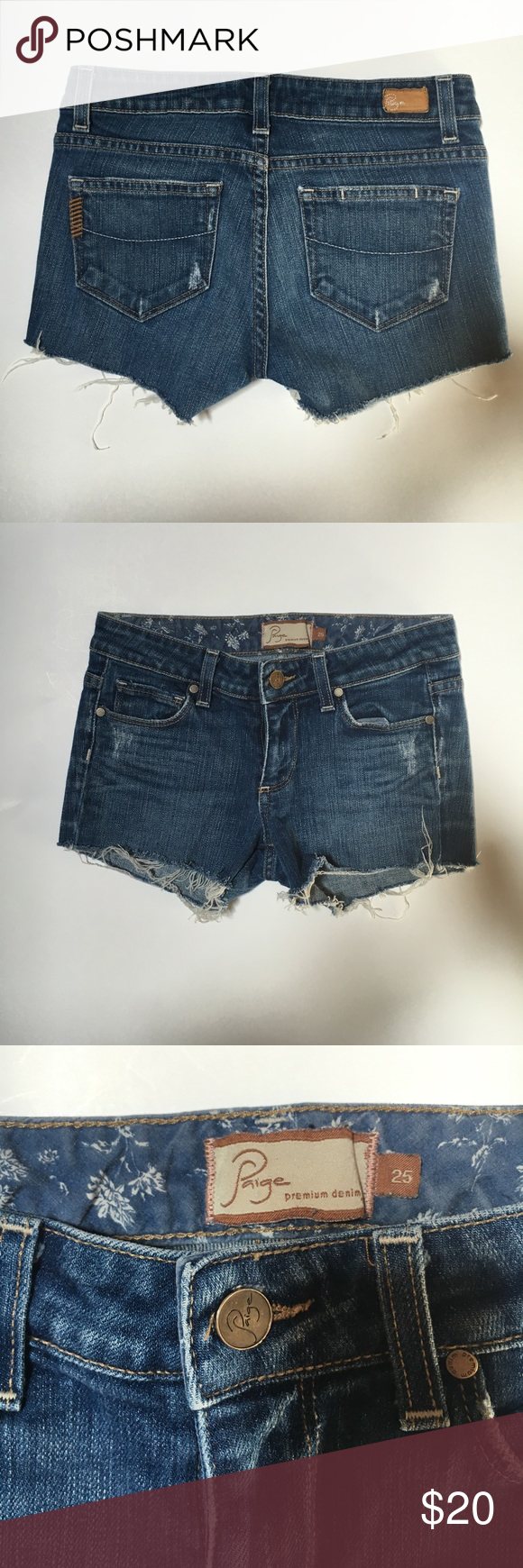 PAIGE CUTOFF JEAN SHORTS Paige cutoff jean shorts, size 25, as you can see in photos, I turned my pants into shorts...you could hem them if you don't like that frayed look. Paige Jeans Shorts Jean Shorts