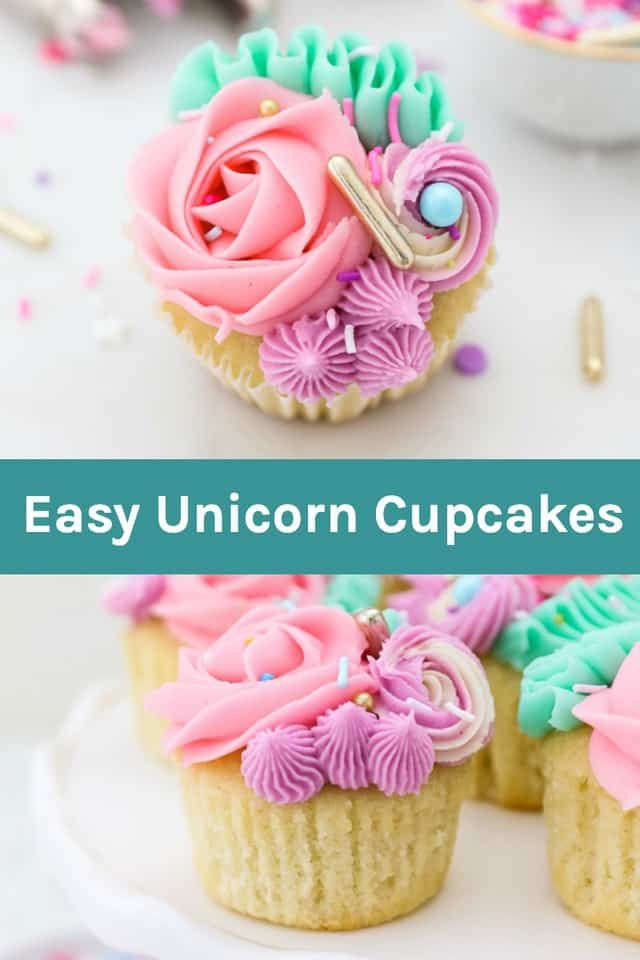 In this step-by-step tutorial, I show you how to create easy Unicorn Cupcakes for your next birthday party! Just a few piping tips, some colorful frosting and sprinkles are all you need to make these Unicorn Cupcakes!
