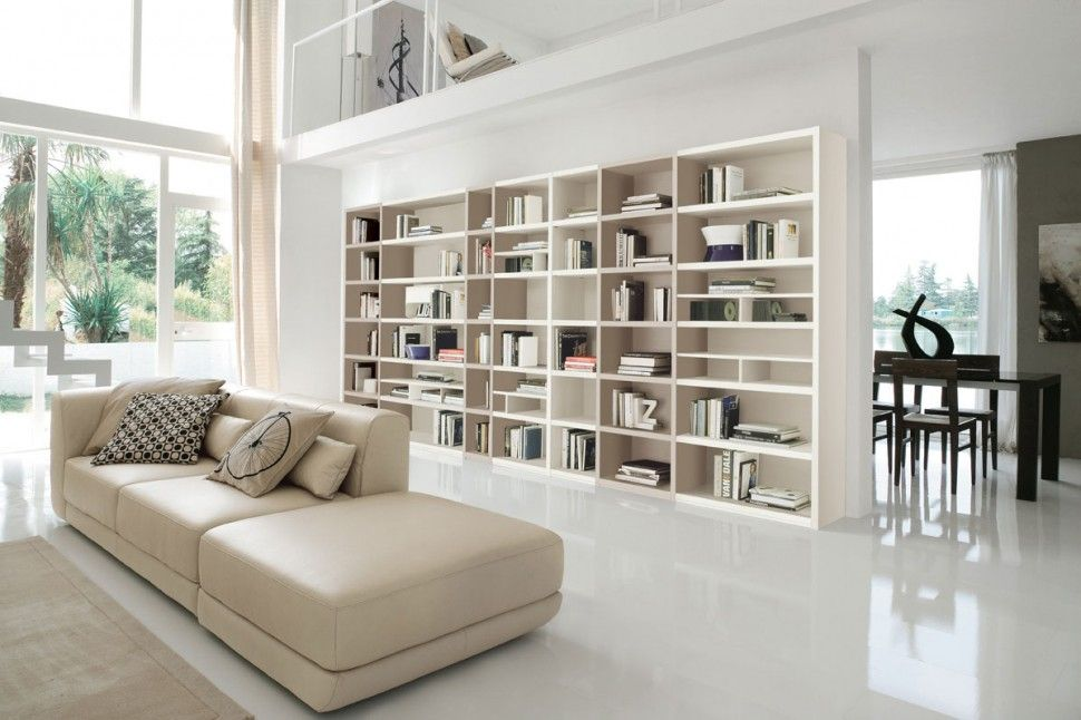 Furniture And Accessories. Modern Wide Open White And Brown Modular Bookcase  Living Room Wall Storage